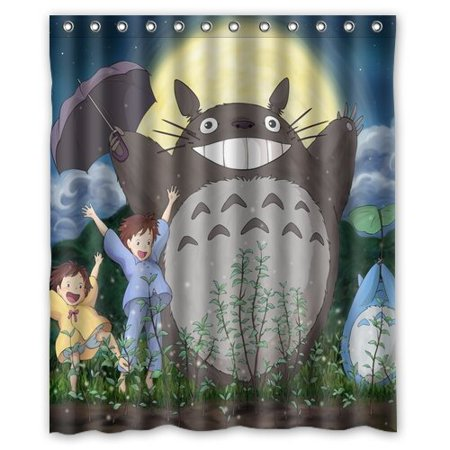 DEYOU Chetery Cute Japanese My Neighbor Totoro Shower Curtain Polyester Fabric Bathroom Size 60x72