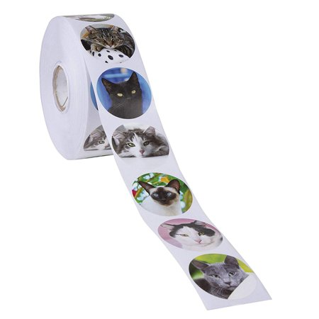 Cat Stickers – 1000-Count Kitten Roll Sticker, 8 Cute Designs, Round Adhesives, Party Favor Stickers, Classroom Reward Stickers for Kids, Craft Stickers, 1.5 Inch Diameter Round - Cute Classrooms