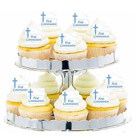 24pk First Communion Blue Cross Edible Cupcake  Decoration Toppers / Picks - First Communion Cupcakes