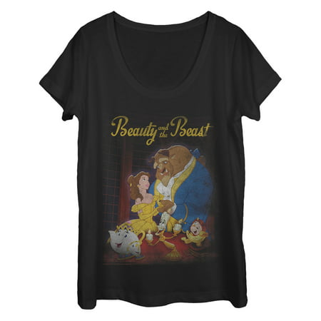 Beauty and the Beast Women's Vintage Poster Scoop Neck