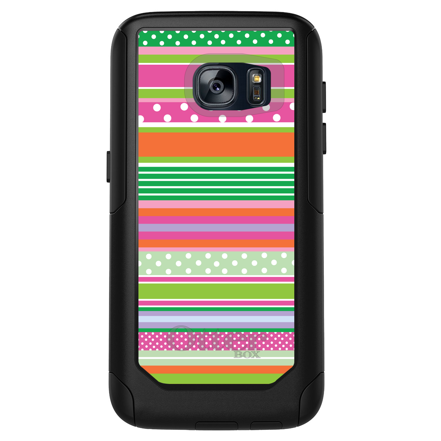 DistinctInk™ Custom Black OtterBox Commuter Series Case for Samsung Galaxy S7 - Green Pink White Stripes Polka Dots