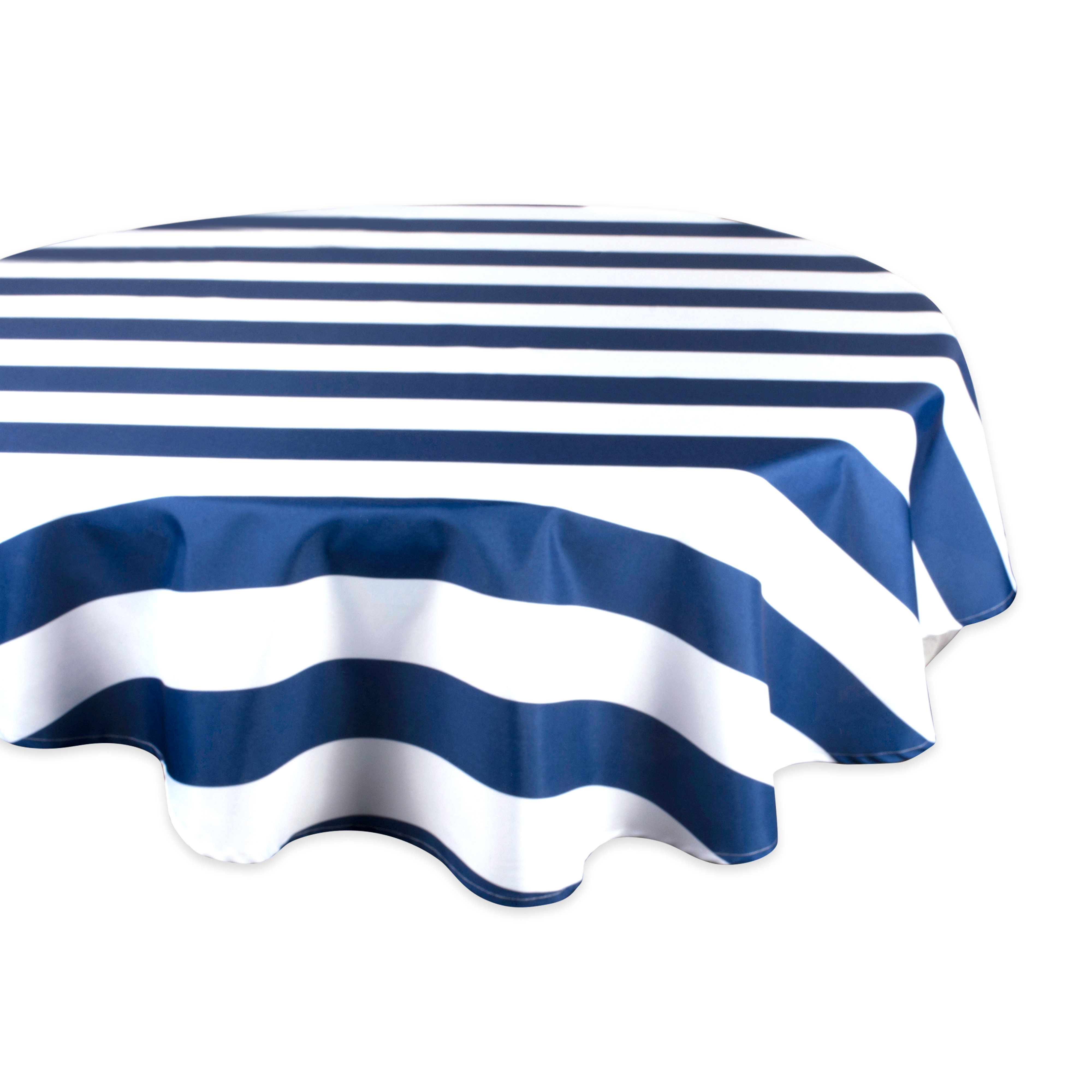"Design Imports Casual Round Cabana Stripe Outdoor Tablecloth, 60"" x 60"", 100% Polyester, Nautical Blue"