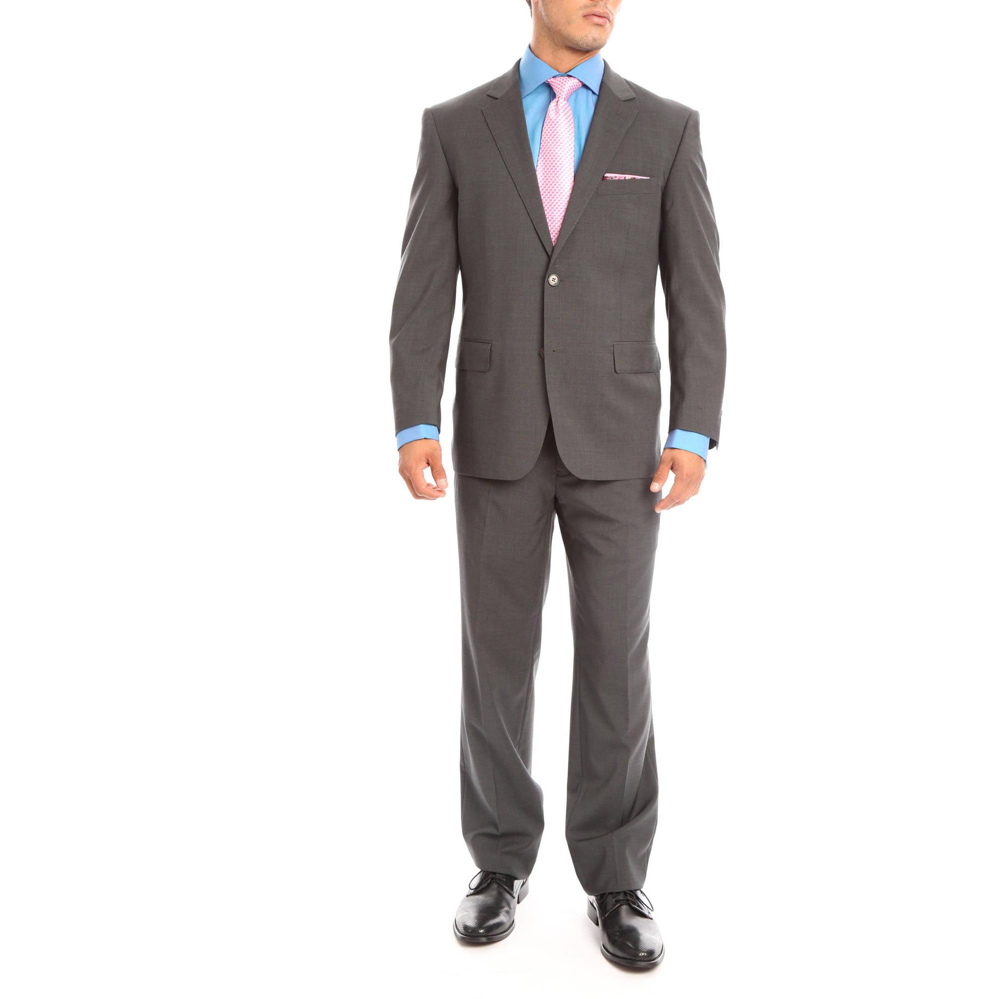 Verno Gallo Big Men's Dark Grey Classic fit Intalian Style Wool Suit