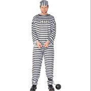 "49"" Black and White Striped Convict Men Adult Halloween Costume - Medium"