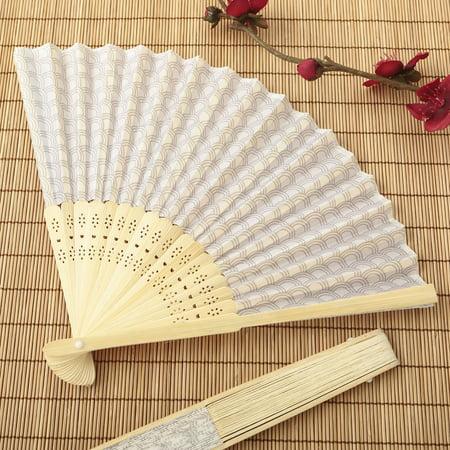 40 Silver scallop silk folding fan favor - Walmart Fan Prices