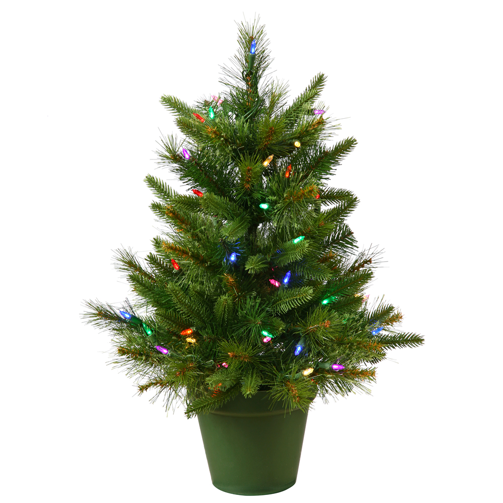 "Vickerman Artificial Christmas Tree 24"" x 21"" Cashmere Pine 50 Multi-color Lights Italian LED"