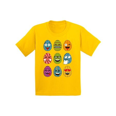 Awkward Styles Easter Eggs Emoji Youth Shirt Easter T Shirt Kids Funny Easter Gifts Easter Outfit for Girls Boys Easter Shirt Easter Egg Tshirt Easter Holiday Outfit Easter Emoji Tshirt for Kids