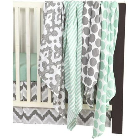 Ikat Chevron Muslin Mint Grey Crib Bedding Collection Walmart Com