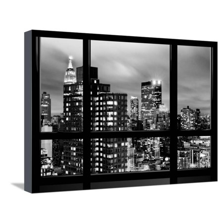 Window View, Empire State Building and New Yorker Hotel Views by Night, Times Square, NYC Stretched Canvas Print Wall Art By Philippe Hugonnard ()