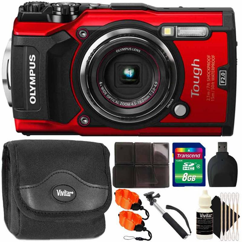 Olympus Tough TG-5 12MP Waterproof Digital Camera Red With Accessory Kit