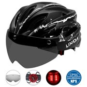 Lixada Lightweight Bike Cycling Helmet with Detachable Magnetic Goggles and LED Light Mountain Road Bicycle Helmets Outdoor Sport