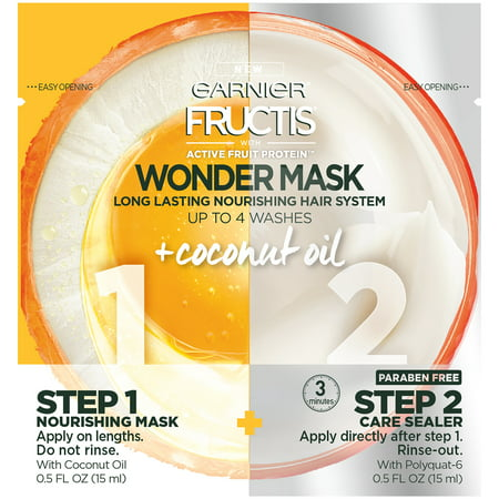Garnier Fructis with Active Fruit Protein Wonder Mask Long Lasting Nourishing Hair System 2-0.5 fl. oz.