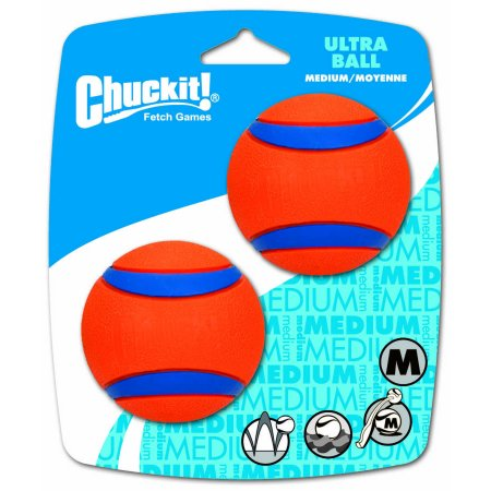 Chuckit! Ultra Dog Ball Bounces and Floats Bright Orange and Blue 2 Pack -