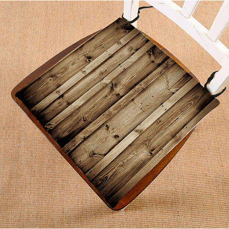 GCKG Vintage Rustic Knotty Old Barn Wood Chair Pad Seat Cushion Chair Cushion Floor Cushion with Breathable Memory Inner Cushion and Ties Two Sides Printing 16x16