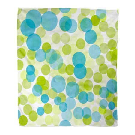 SIDONKU Throw Blanket Warm Cozy Print Flannel Colorful Circle Green and Blue Polka Dots Pattern Color Funky Light Water Comfortable Soft for Bed Sofa and Couch 58x80 Inches ()