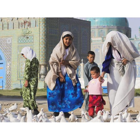 Family Looking at the Famous White Pigeons, Shrine of Hazrat Ali, Mazar-I-Sharif, Afghanistan Print Wall Art By Jane