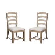 Emerald Home Castle Bay Whitewashed Pine Dining Chair with Upholstered Seat, Ladder Back, And Turnbuckle Bracing, Set of Two