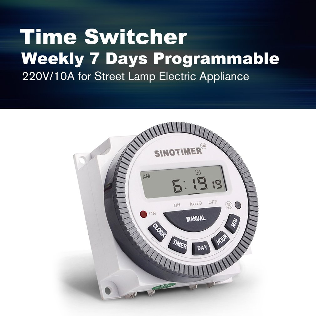 Sinotimer 220v 10a Weekly 7 Days Programmable Digital Time Switch Timer Relay Control For Electric Appliance With Alarm Clock