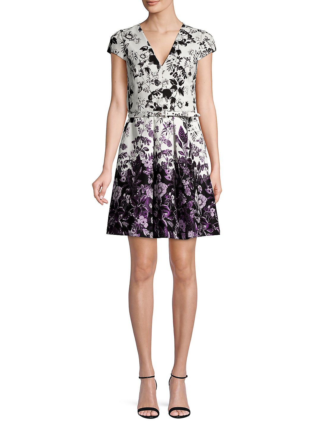 Printed Jacquard Fit-&-Flare Dress
