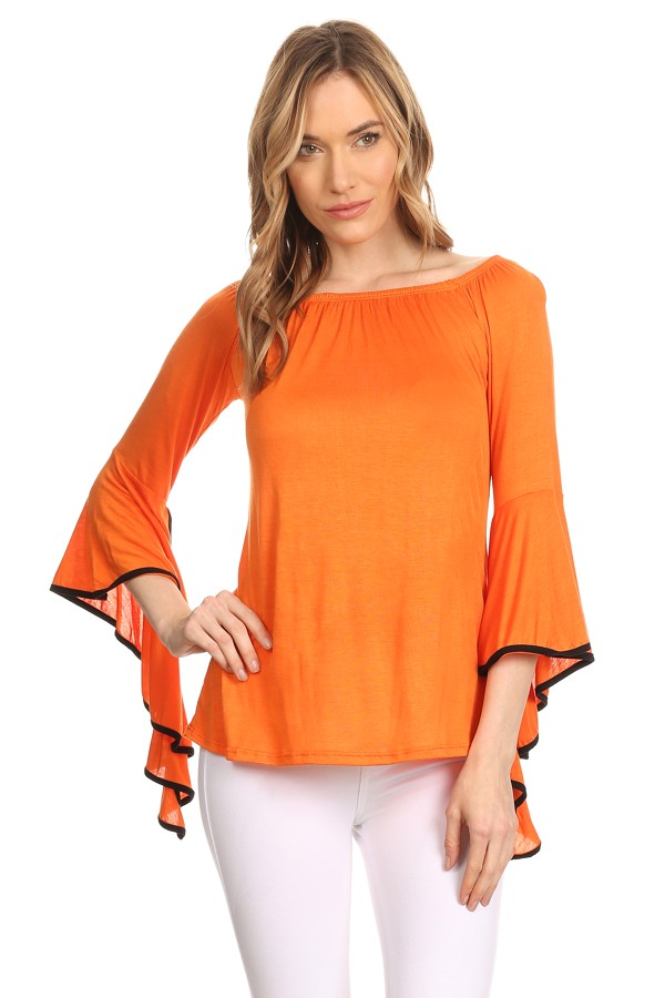 Women's  trendy style, solid top.  flutter sleeve tunic top.