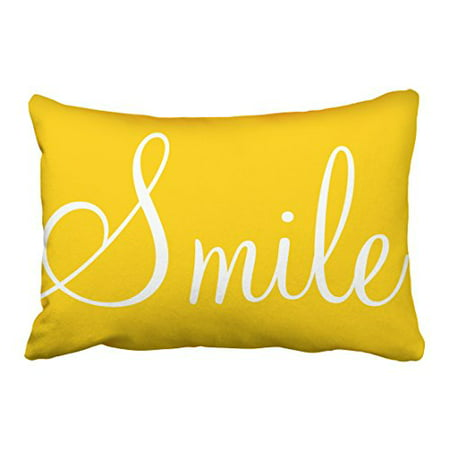 WinHome Decorative SMILE Sunshine Yellow Decorative Lumbar Pillowcase Pillow Covers Size 20x30 inches Two Side