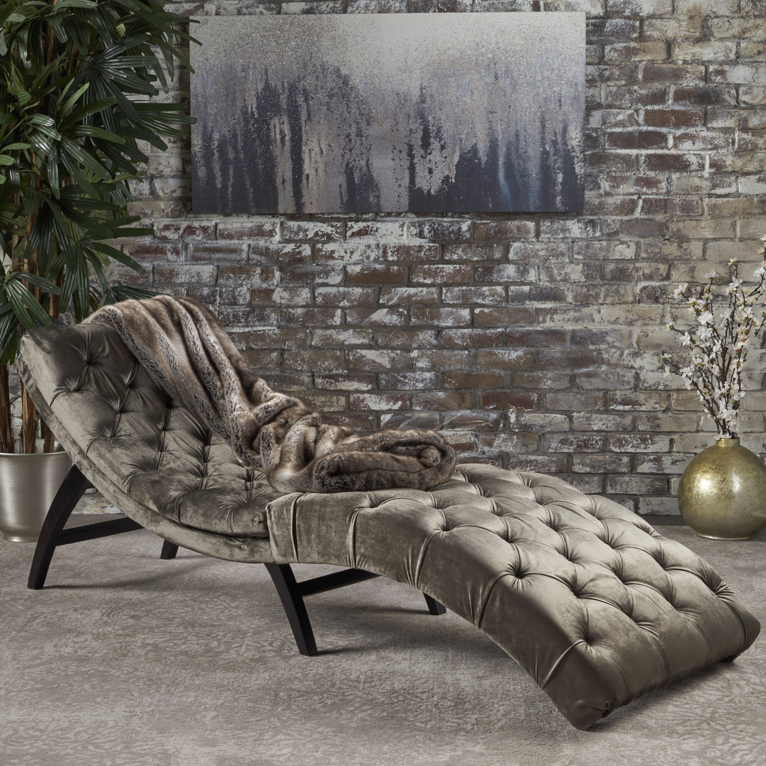 Noble House Tufted Velvet Chaise Lounge,Grey