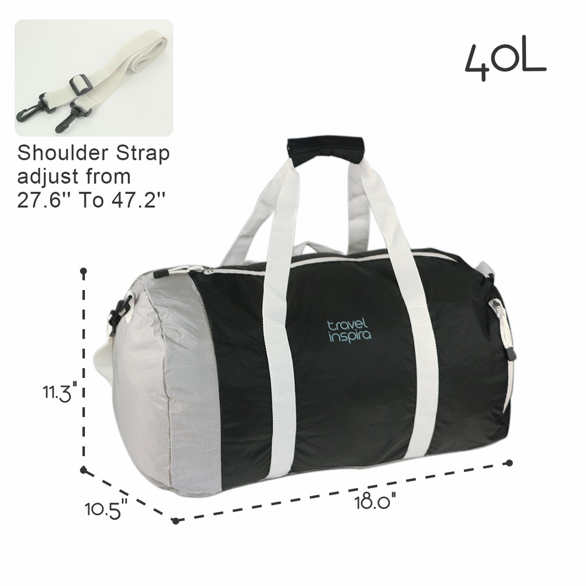 Foldable Waterproof Travel Luggage Duffle Bag Lightweight for Sports, Gym, Vacation and Travel Duffel Bags (40L, Black)