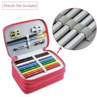 72 Slots Pencil Case - PU Leather Handy Multi-layer Large Zipper Pen Bag with Handle Strap for Colored / Watercolor Pencils, Gel Pen, Makeup Brush, Small Marker and Sharpener (Pink)