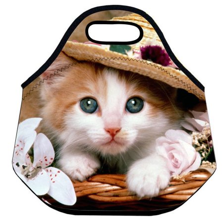 Cute Cat Insulated Handbag Lunch Box Neoprene Thermal Lunch Bag For Women