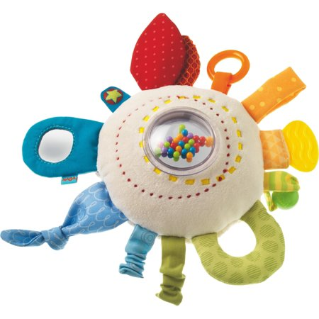 HABA Teether Cuddly Rainbow Round Soft Activity Toy - Machine Washable with Rattling & Teething Elements