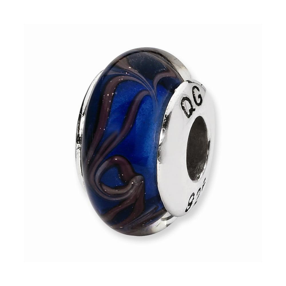 Pair 925 SS Sterling Silver Hand Blown Blue Swirl Glass Beaded Earrings 1