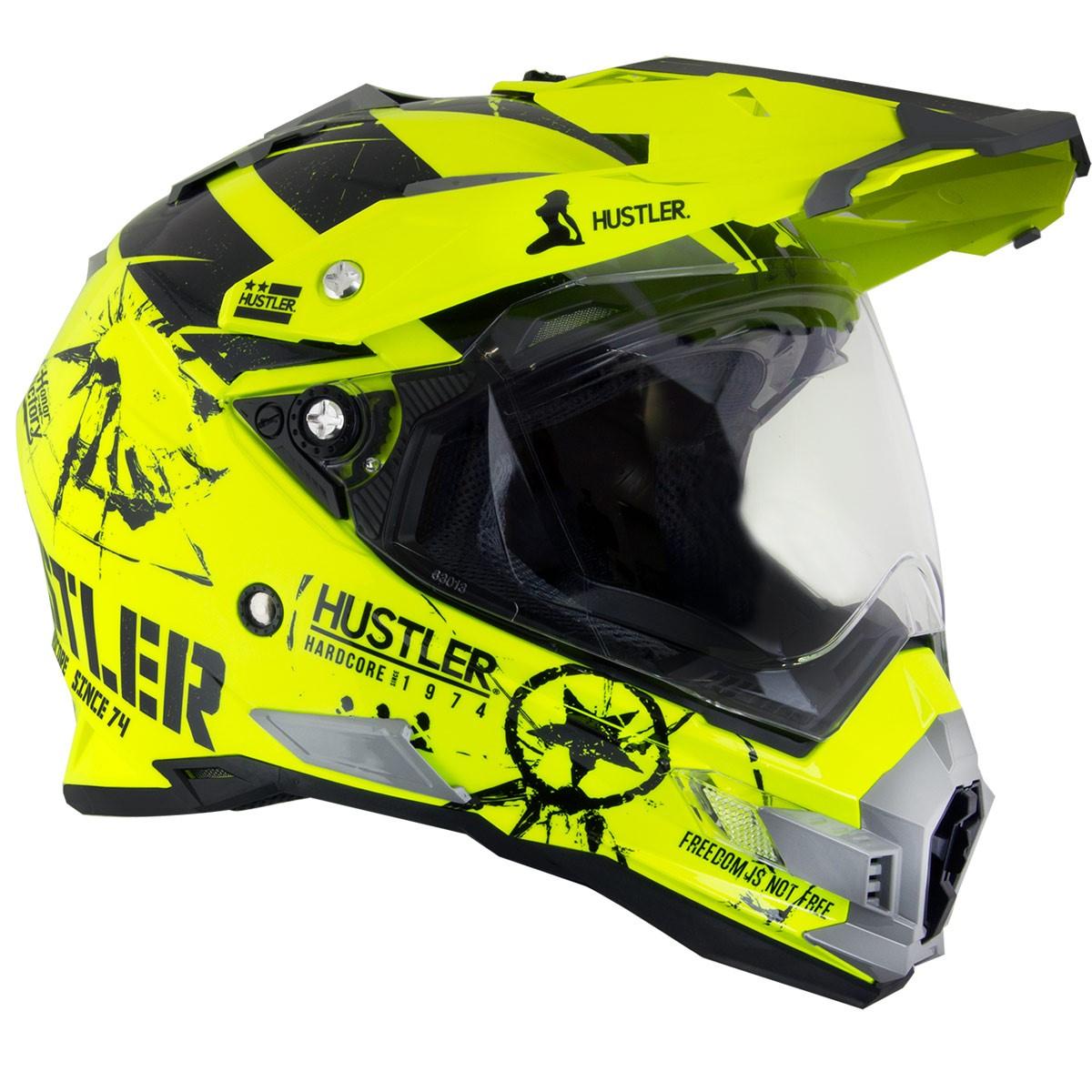 Hustler Hardcore Since 1974 Dual Sport High-Viz Neon Motorcycle Helmet