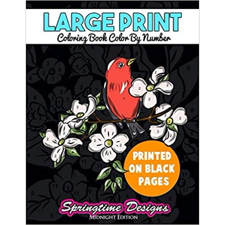 Large Print Adult Coloring Book Color by Number : Springtime Designs Midnight Edition