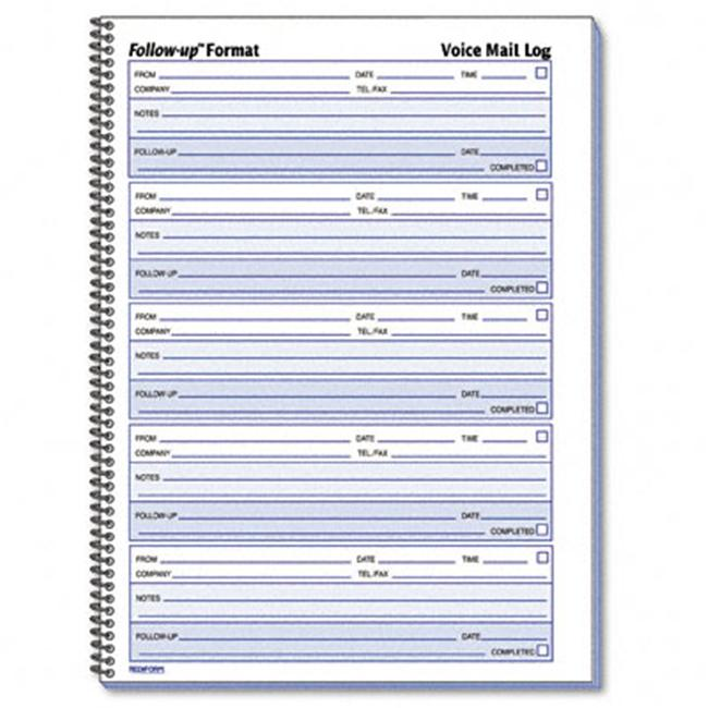 Rediform 51114 Voice Mail Message Log  8 x 10-5/8  500 Sets/Book