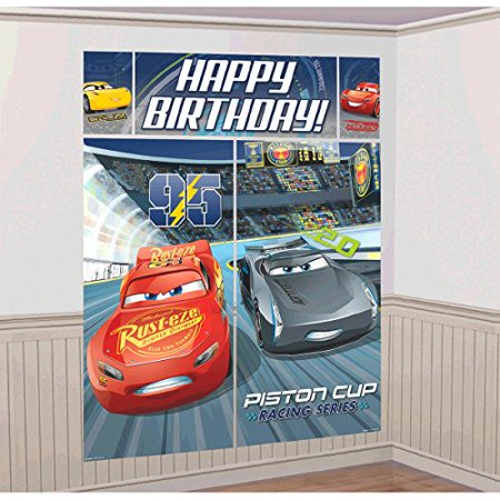 Disney 3 Lighning McQueen Kids Party Scene Setter Wall Decorations Kit - Kids Birthday and Party Supplies DecorationCARS 3 PARTY THEME By Cars](Themed Birthday Party Ideas)