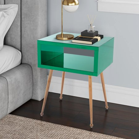 COOLMORE Mirrored Nightstand Modern Elegant Acrylic Mirror End Table Bedside Table for Bedroom Living Room with Open Storage Shelf and Rose Gold Metal Legs, Multiple Colors Option