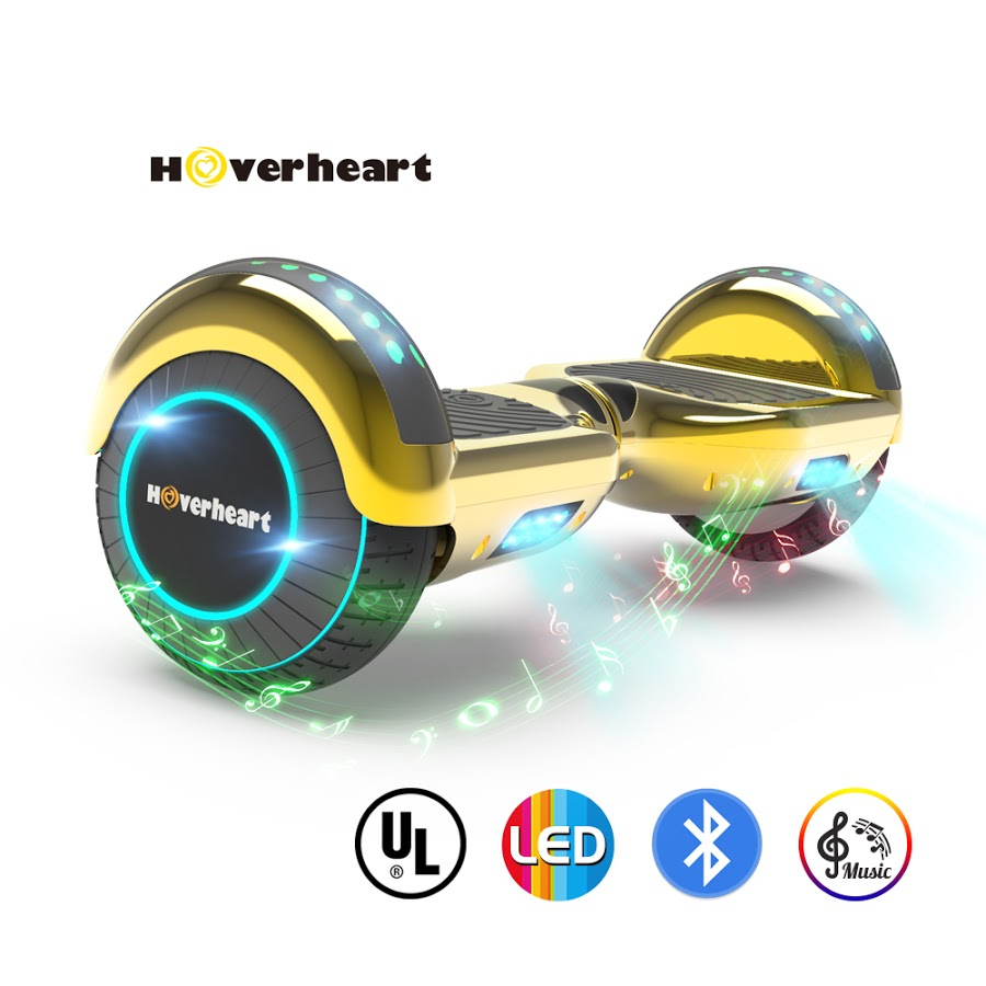 "Hoverboard Bluetooth Two-Wheel Self Balancing Electric Scooter 6.5"" UL 2272 Certified with Bluetooth Speaker and LED Light Chrome Turquoise"