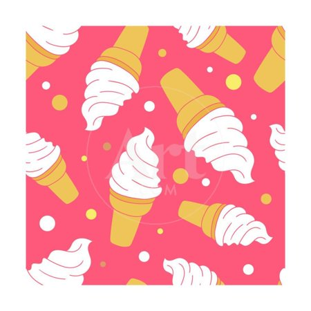 A Lot of Ice Cream Hand Drawn Background. Doodle Wallpaper Vector. Colorful Seamless Pattern Print Wall Art By Talirina 12 In Ice Pattern
