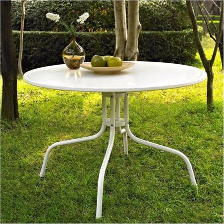 Bowery Hill Round Metal Dining Table in White ()