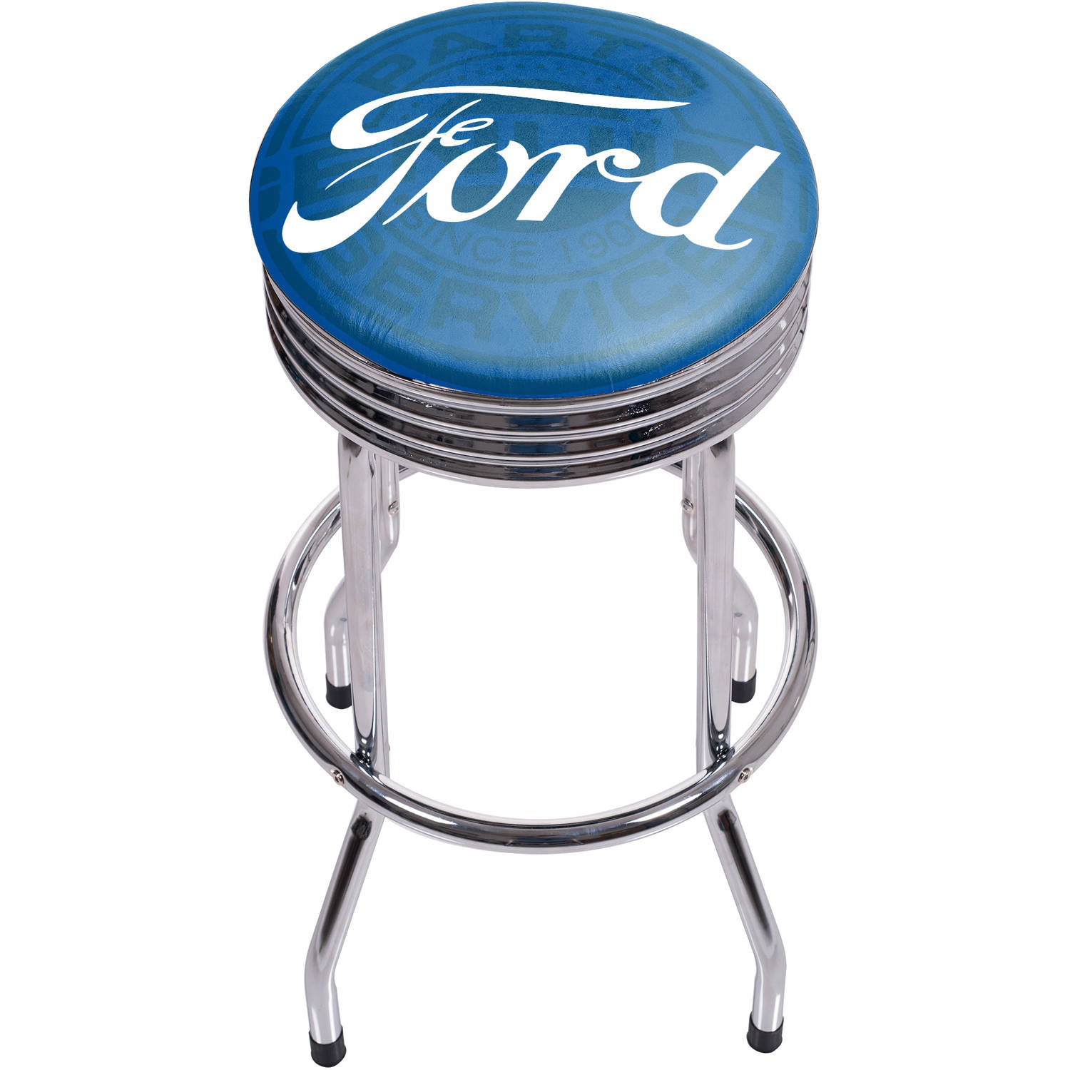 Ford Chrome Ribbed Bar Stool, Ford Genuine Parts
