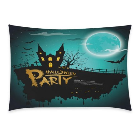 ZKGK Happy Halloween Party Castle Bat Harvest Home Decor Pillowcase 20 x 30 Inches,Moon Night House Pillow Cover Case Shams Decorative](20 30 Halloween Party Napa)