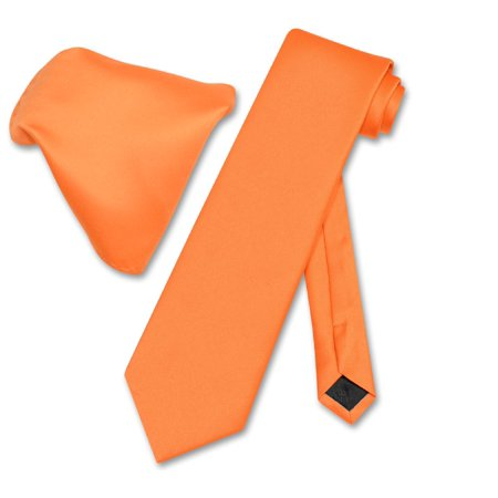 Vesuvio Napoli Solid EXTRA LONG ORANGE Color NeckTie & Handkerchief Men