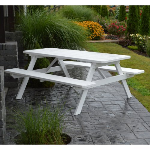 A & L Furniture Yellow Pine Picnic Table with Attached Benches