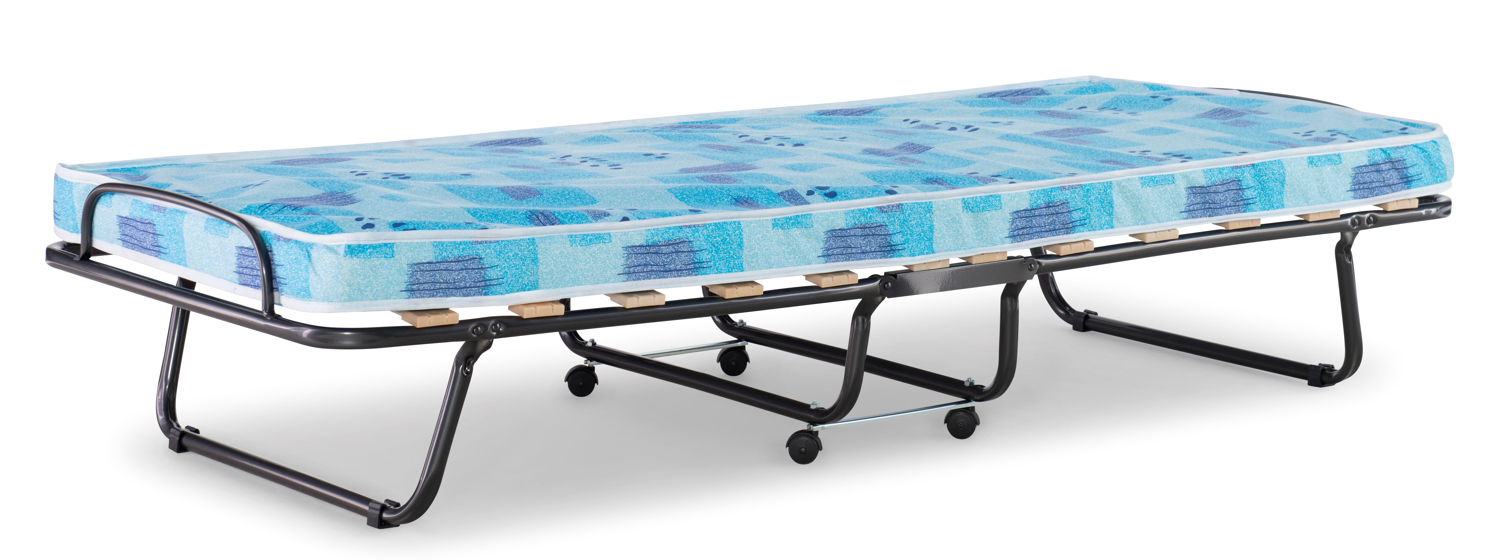 """Linon Roma Folding Rollaway Guest Bed with 4/"""" Foam Mattress Cot"""