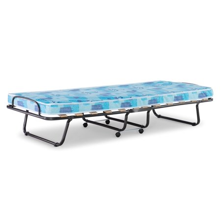 Linon Roma Folding Bed, Steel Frame and Mattress, Blue and White Folding Rollaway Bed Frame