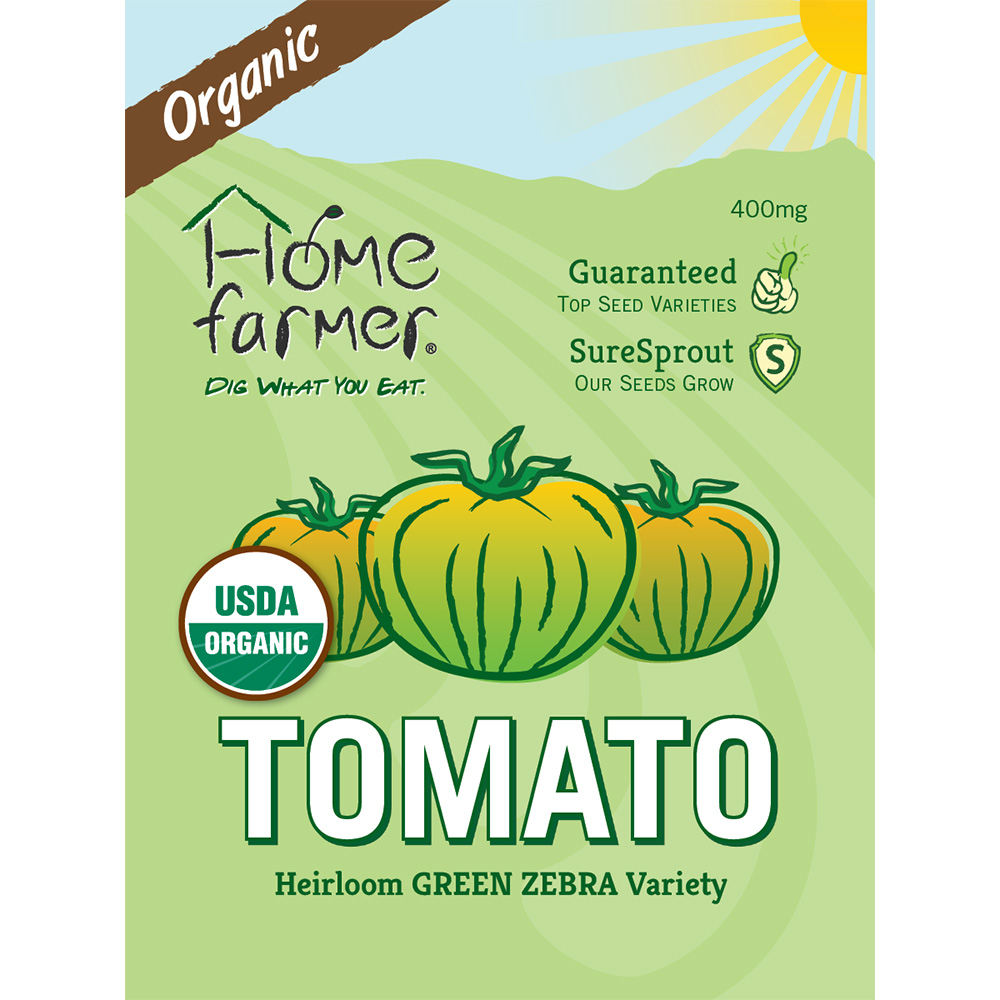 Organic Heirloom Tomato (Green Zebra) Seed Packet