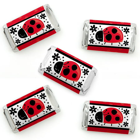 Modern Ladybug - Mini Candy Bar Wrapper Stickers - Baby Shower or Birthday Party Small Favors - 40 - Ladybug Baby Shower Ideas