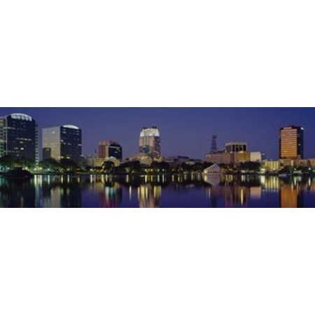 Reflection of buildings in water Orlando Florida USA Canvas Art - Panoramic Images (18 x 6) - Halloween Stores In Orlando Florida
