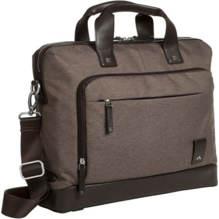Brenthaven Medina 2332 Carrying Case (Briefcase) for 15 Notebook - Chestnut - Drop Resistant Exterior - Napa Leather Trim, Twill, Polyester