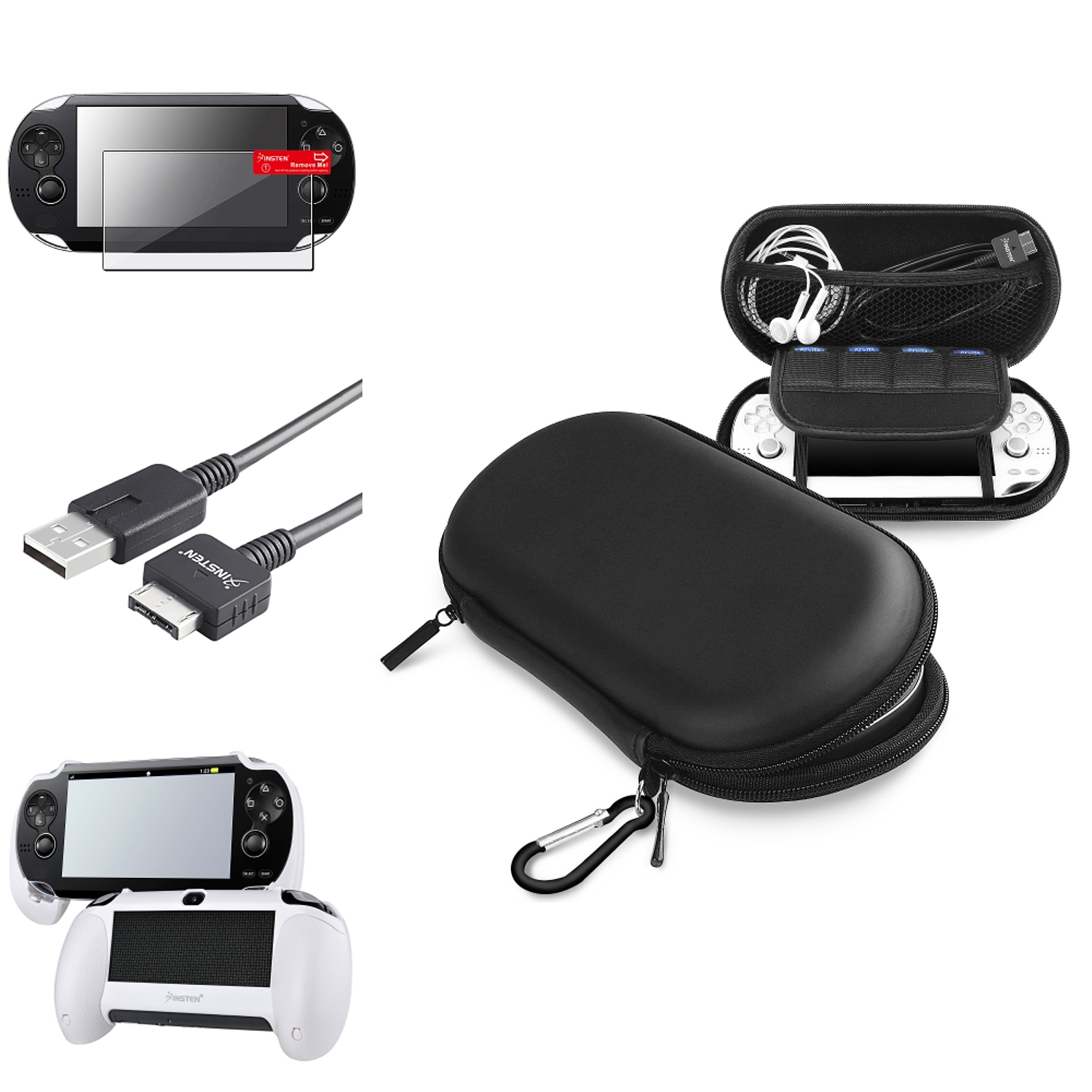Insten White Hand Grip+Screen Protector+Black EVA Case+USB Cable For Sony PS Vita PSV